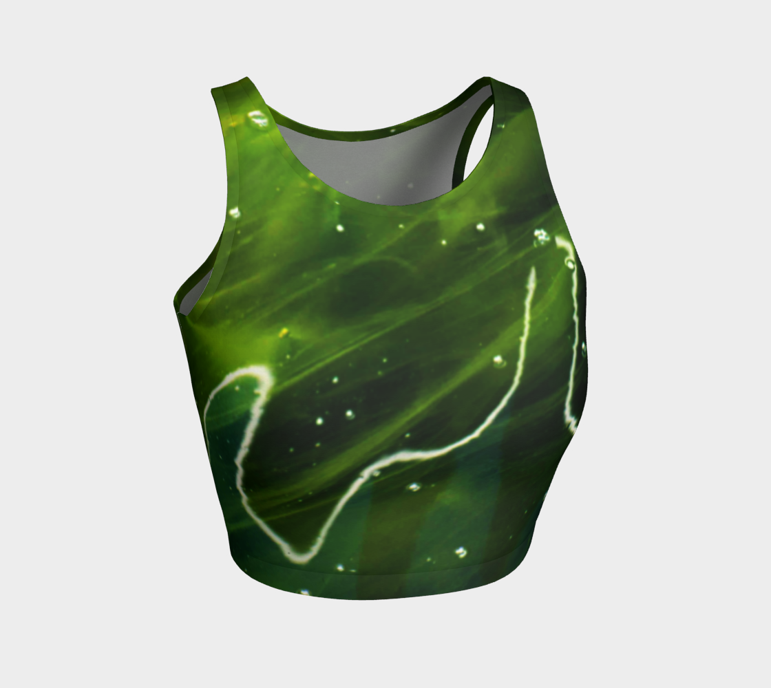 Green Algae and Water Athletic Crop Top preview