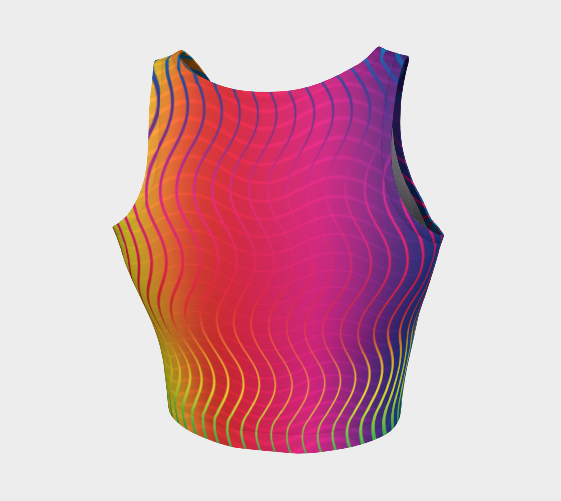 Rippled Rainbow Waves Athletic Crop Top preview #2