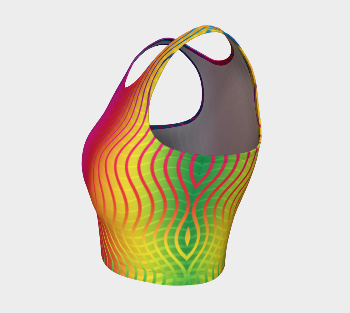 Rippled Rainbow Waves Athletic Crop Top preview #3
