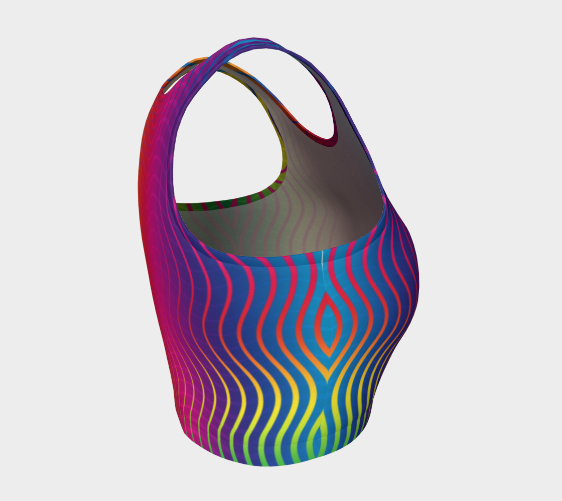 Rippled Rainbow Waves Athletic Crop Top preview #4