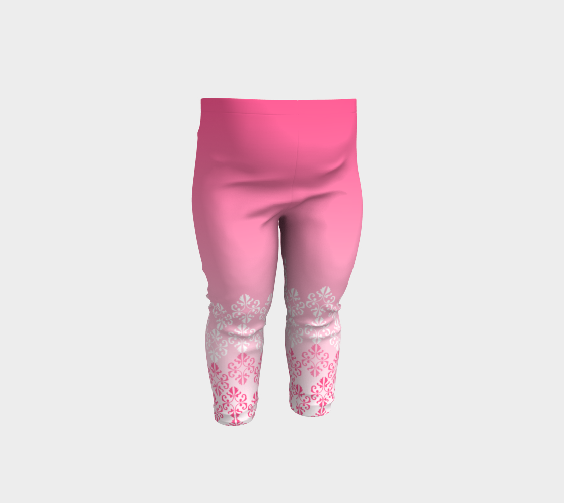 Pink Ombre Damask Pattern Baby Leggings preview