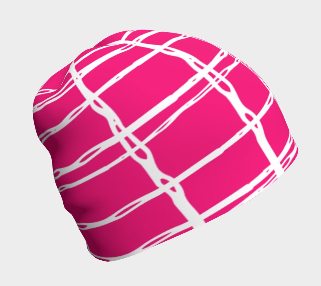 Pink and White Geometric Line Pattern Beanie preview
