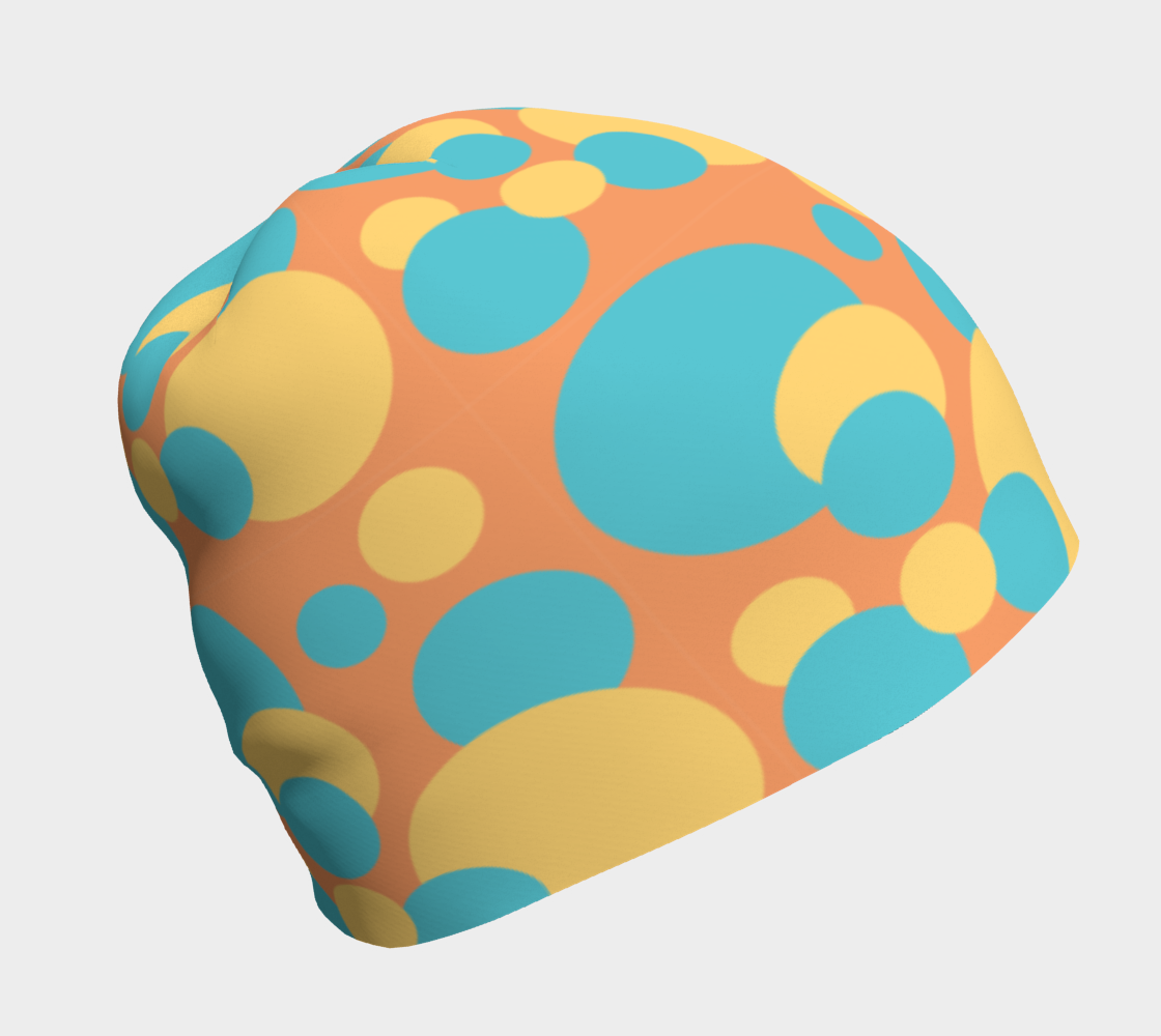 Retro Beanie in Blue and Yellow Dot Pattern preview