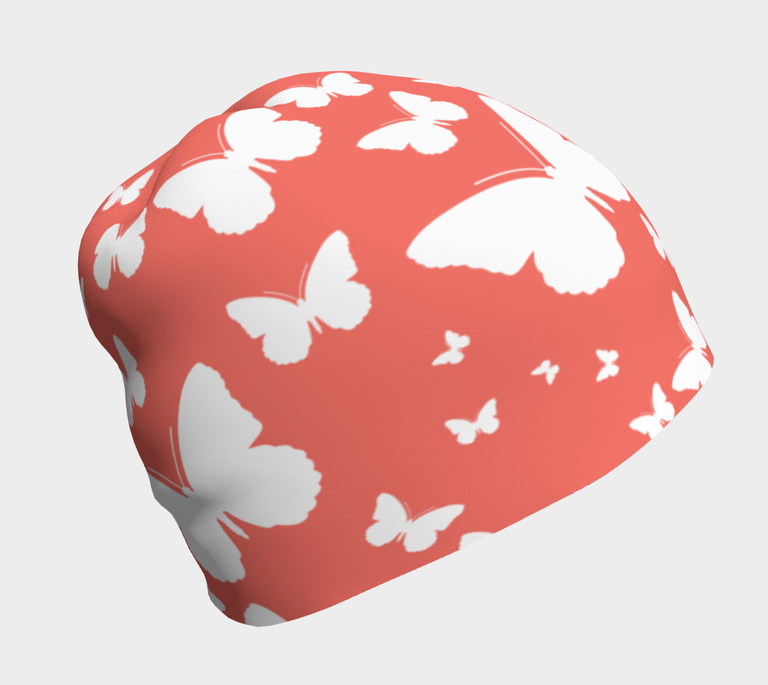 Butterflies in Coral and White Beanie preview