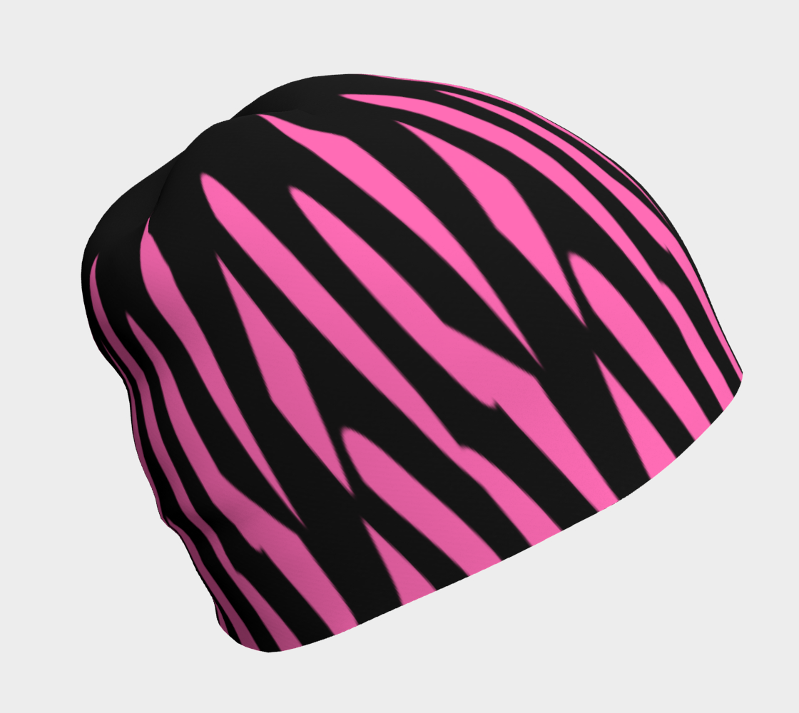 Pink and Black Ice Abstract Beanie preview