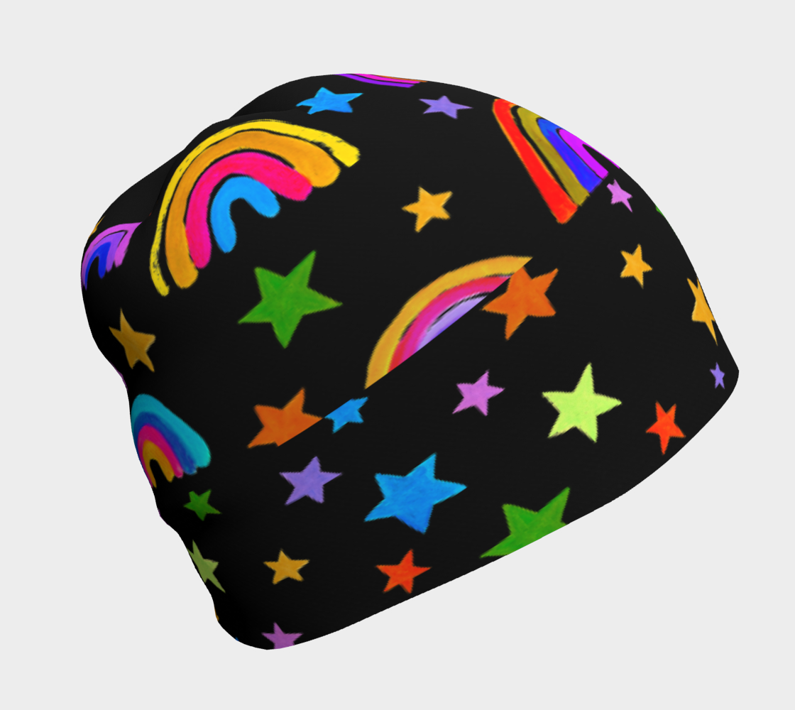 Rainbows and Stars on Black Beanie preview