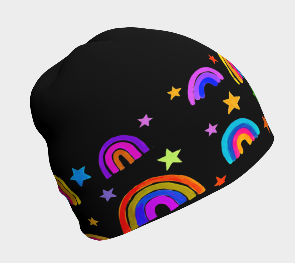 Rainbows and Stars 2.0 Black Beanie preview