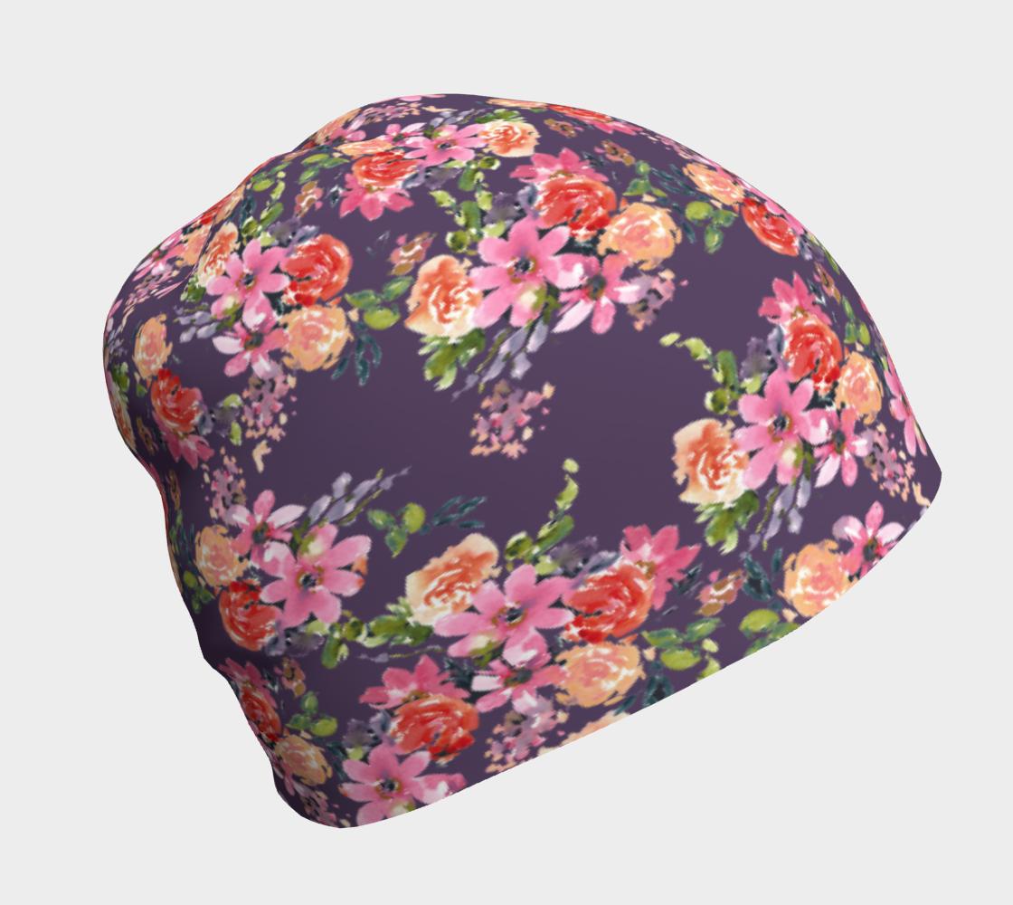 Aperçu de Pink Coral Floral Beanie