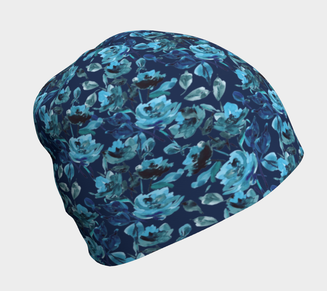 blue rose beanie hat preview