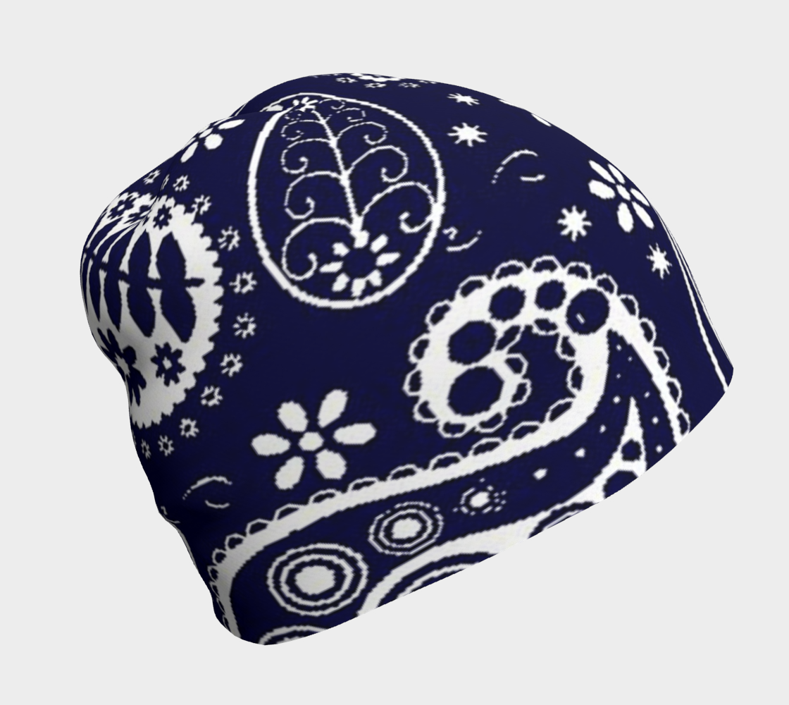 Navy Paisley winter beanie preview