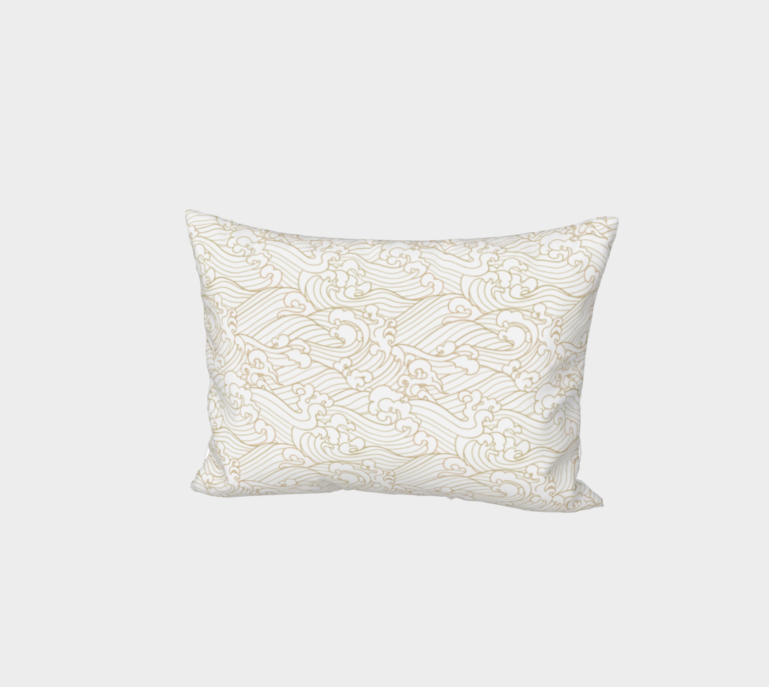 Golden Waves in White Bed Pillow Sham preview