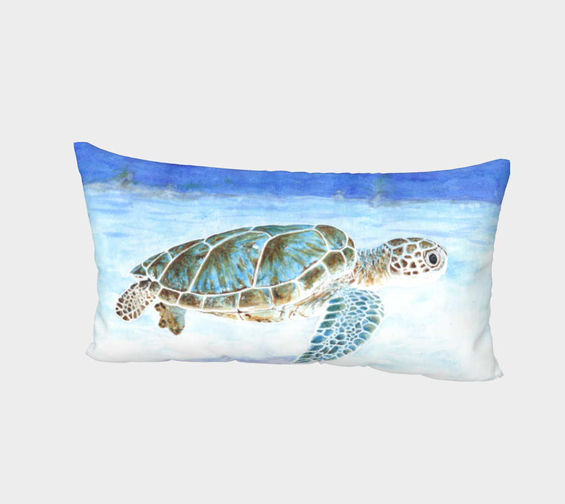 Sea turtle underwater Bed Pillow Sham preview #2