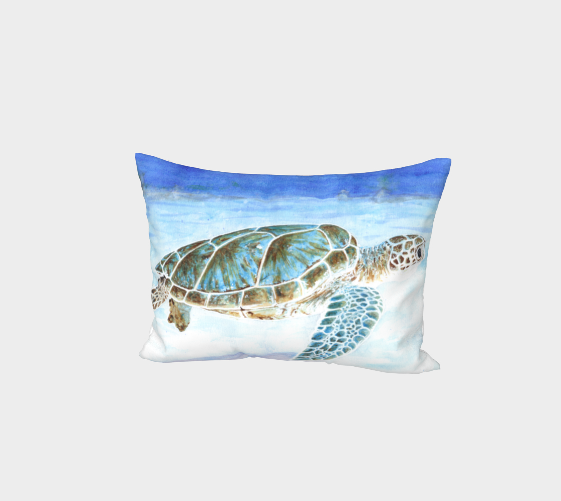 Sea turtle underwater Bed Pillow Sham aperçu