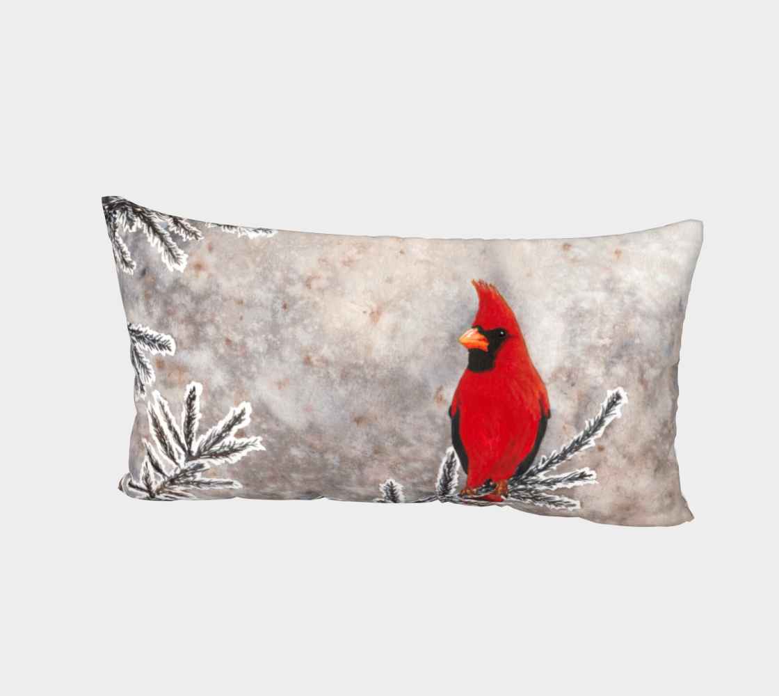 The red cardinal in winter Bed Pillow Sham preview #2