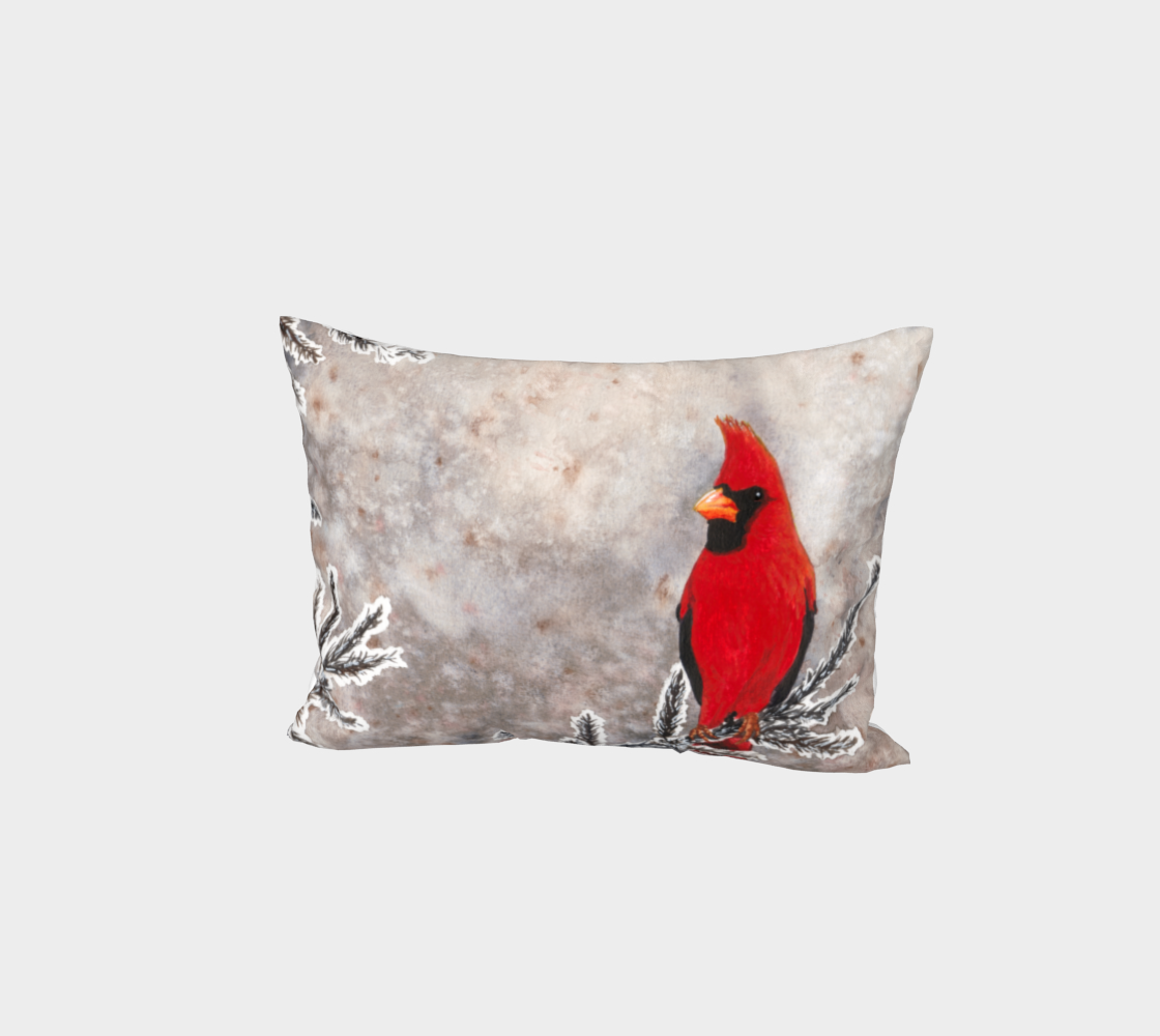 The red cardinal in winter Bed Pillow Sham aperçu
