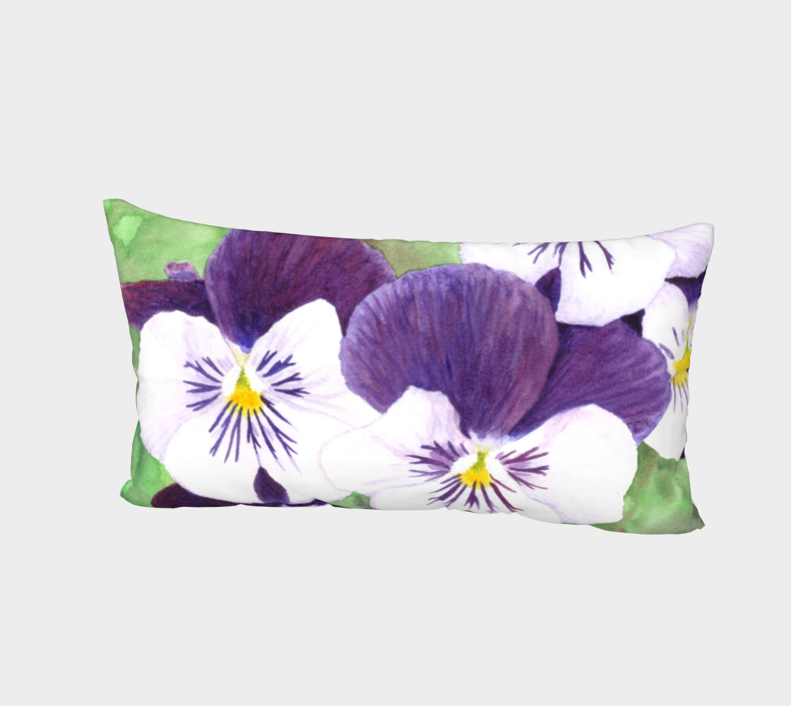 Purple and white pansies flowers Bed Pillow Sham preview #2