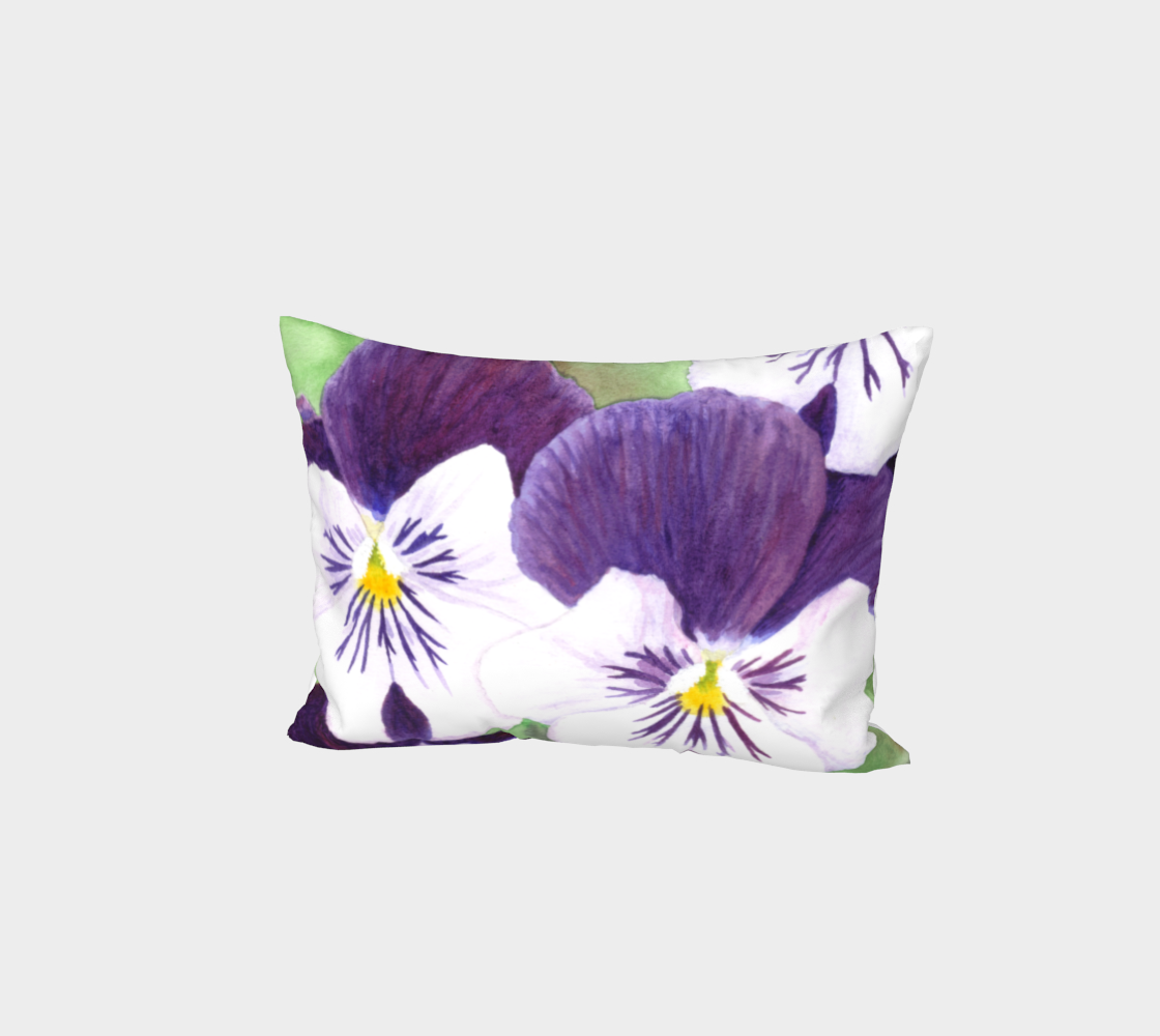 Purple and white pansies flowers Bed Pillow Sham aperçu