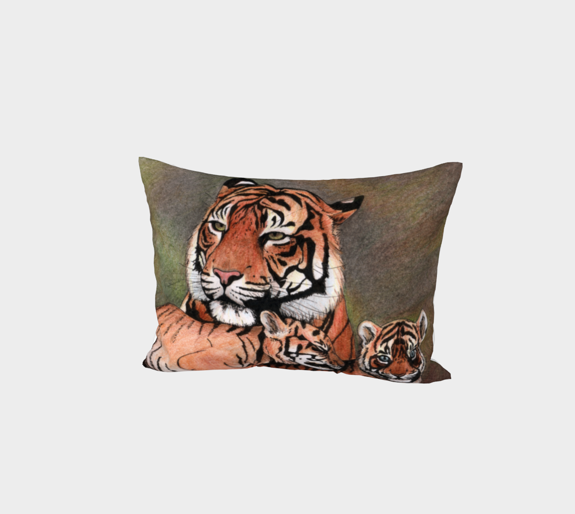 Family tigers Bed Pillow Sham aperçu