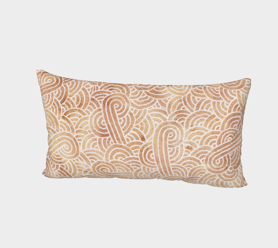 Iced coffee and white swirls doodles Bed Pillow Sham preview #2