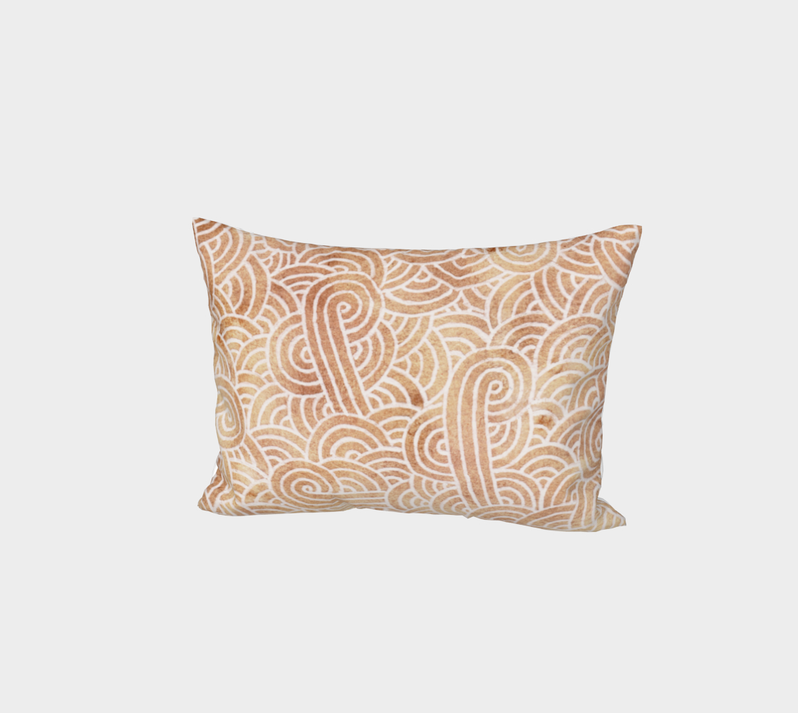 Iced coffee and white swirls doodles Bed Pillow Sham aperçu