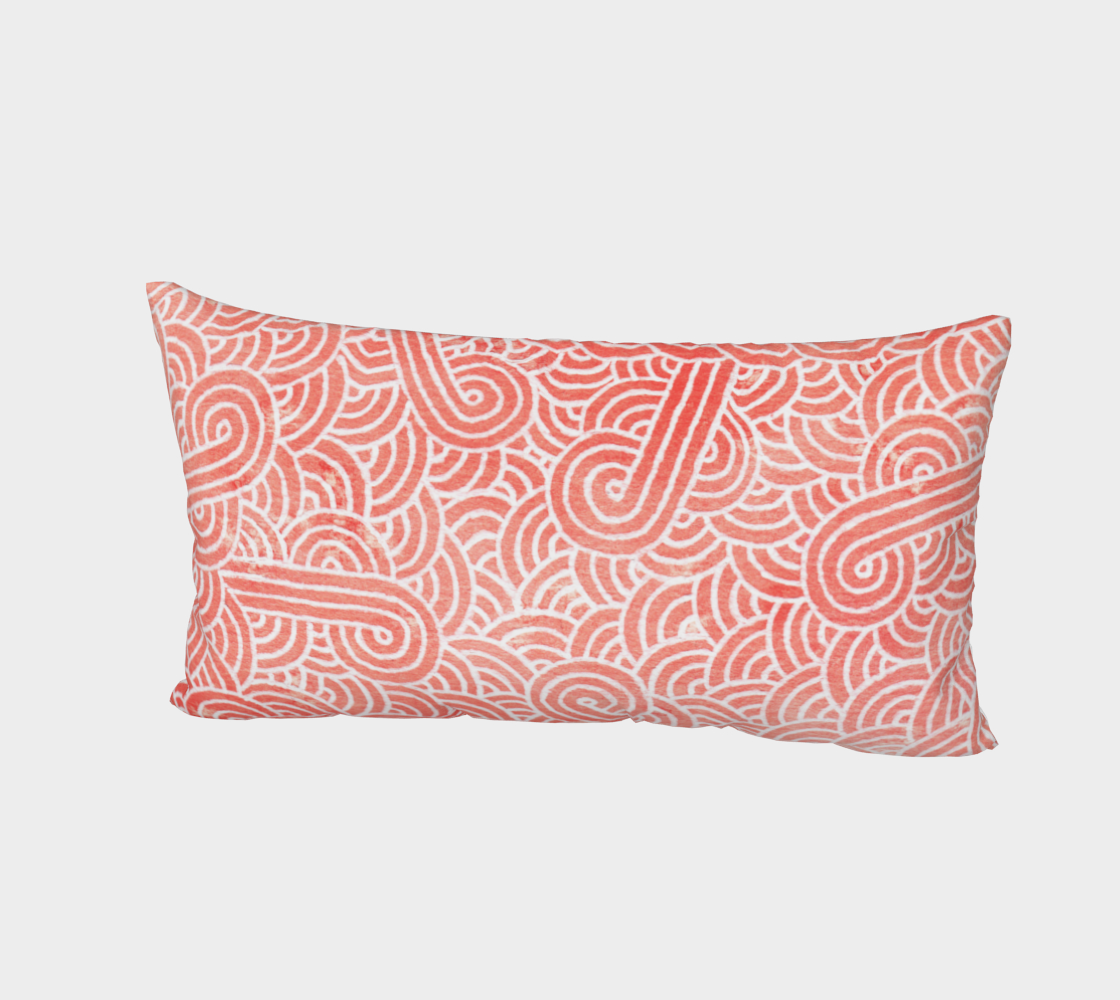 Peach echo and white swirls doodles Bed Pillow Sham preview #2