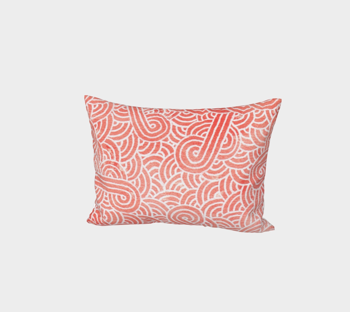 Peach echo and white swirls doodles Bed Pillow Sham preview #1
