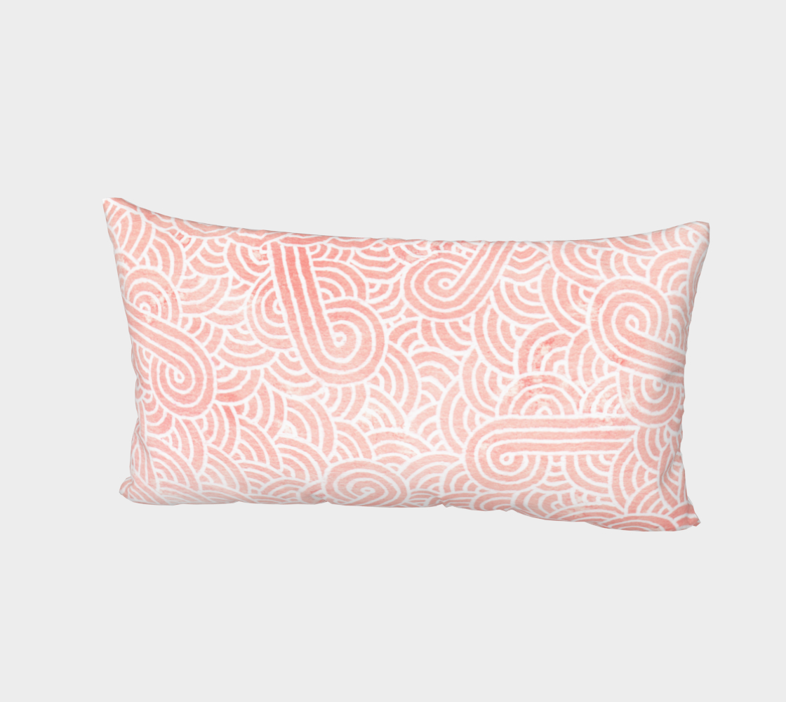 Rose quartz and white swirls doodles Bed Pillow Sham preview #2