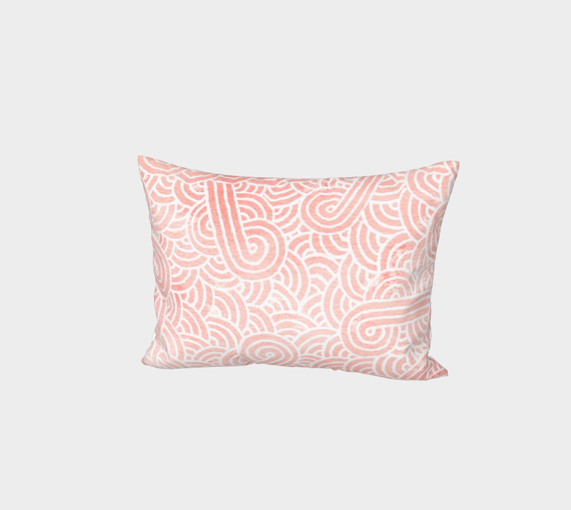 Rose quartz and white swirls doodles Bed Pillow Sham preview