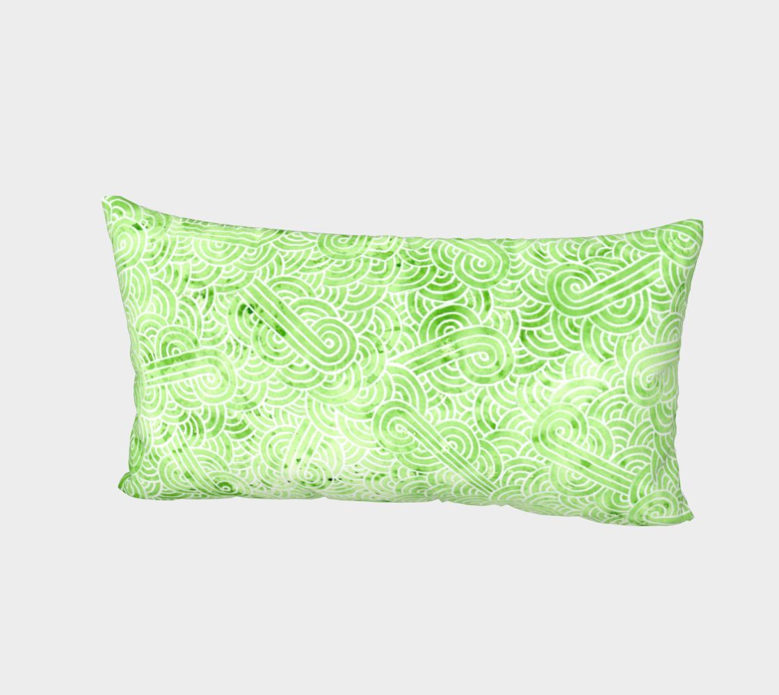 Greenery and white swirls doodles Bed Pillow Sham preview #2