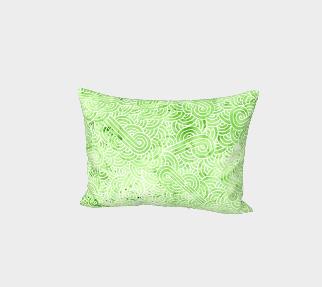 Greenery and white swirls doodles Bed Pillow Sham preview