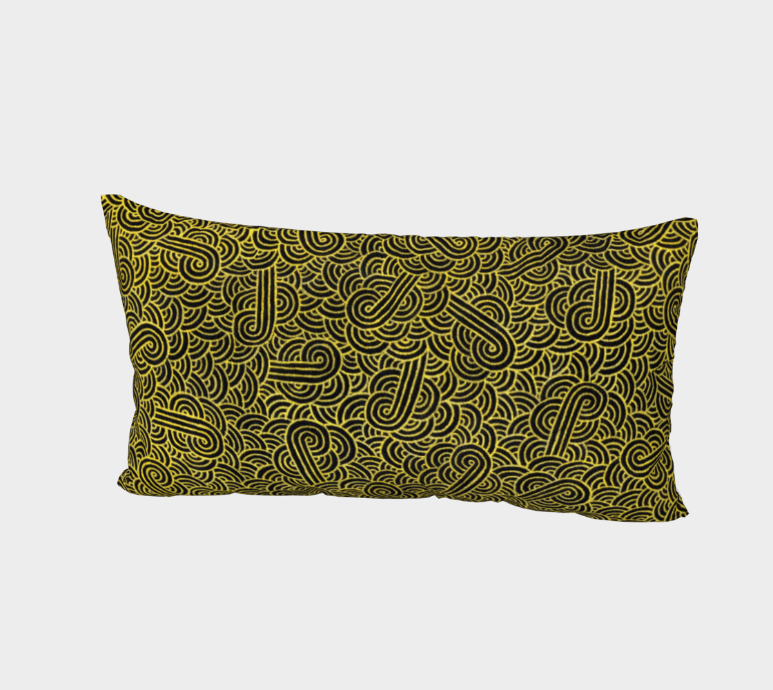 Faux gold and black swirls doodles Bed Pillow Sham preview #2