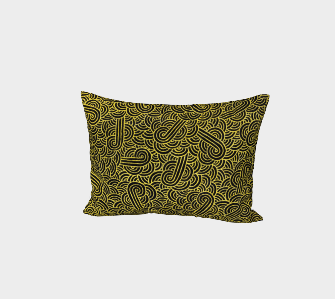 Faux gold and black swirls doodles Bed Pillow Sham aperçu