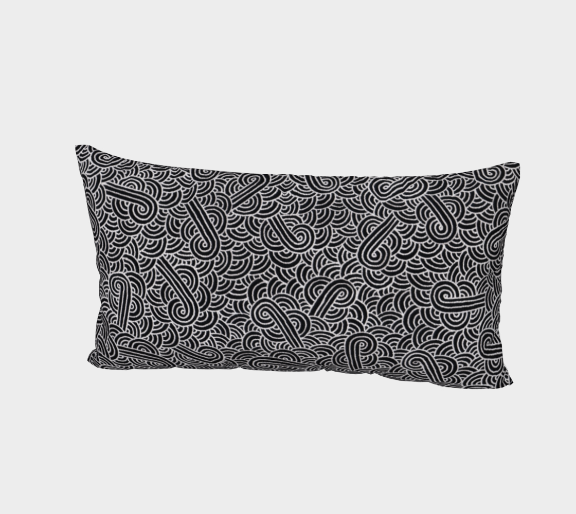 Aperçu de Faux silver and black swirls doodles Bed Pillow Sham #2