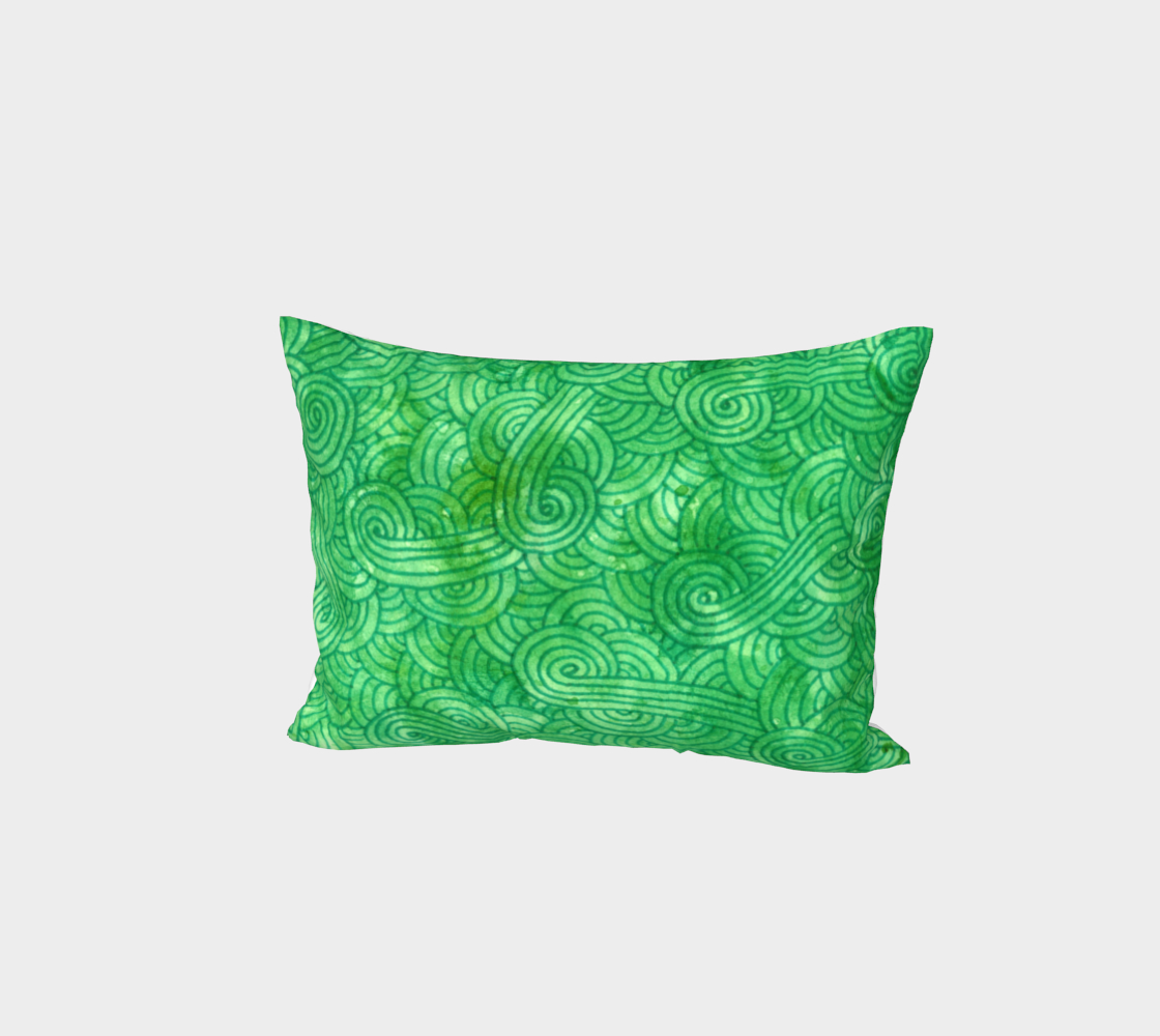 Bright green swirls doodles Bed Pillow Sham preview