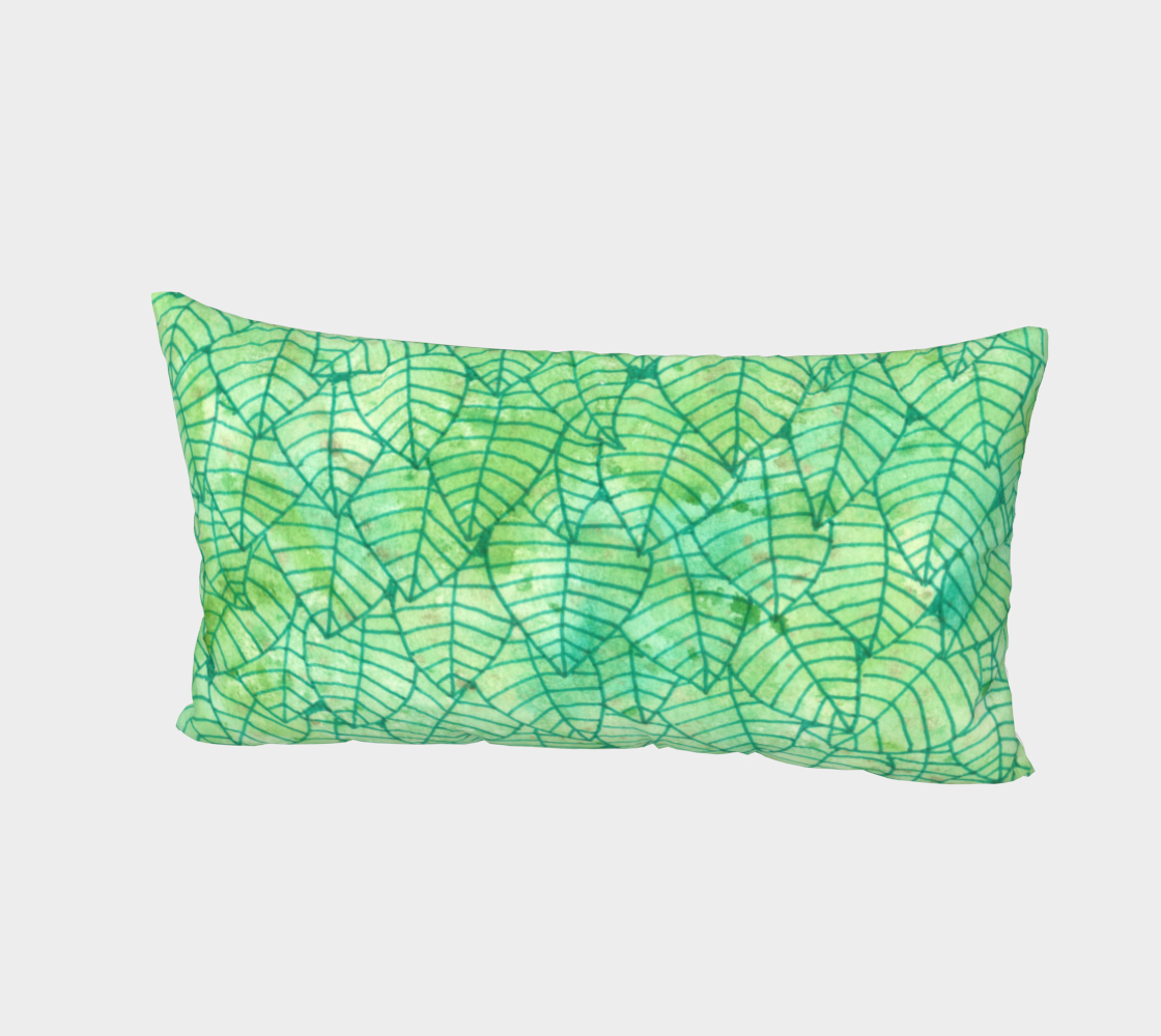 Green foliage watercolor Bed Pillow Sham thumbnail #3