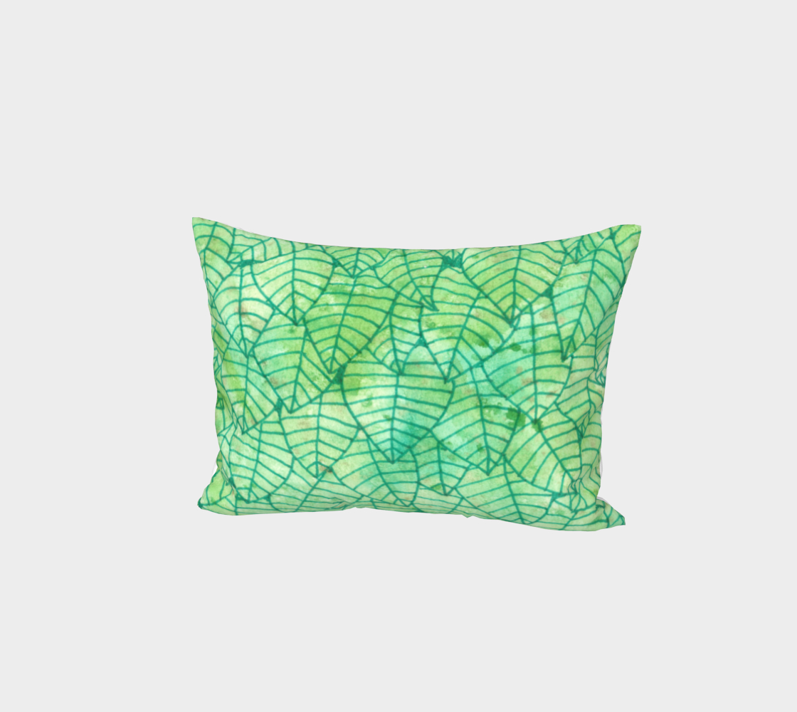Green foliage watercolor Bed Pillow Sham 3D preview