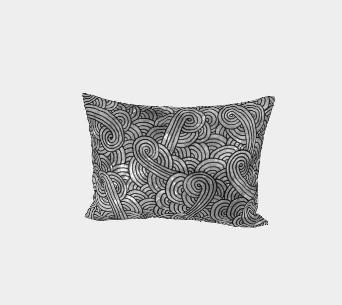 Grey and black swirls doodles Bed Pillow Sham preview