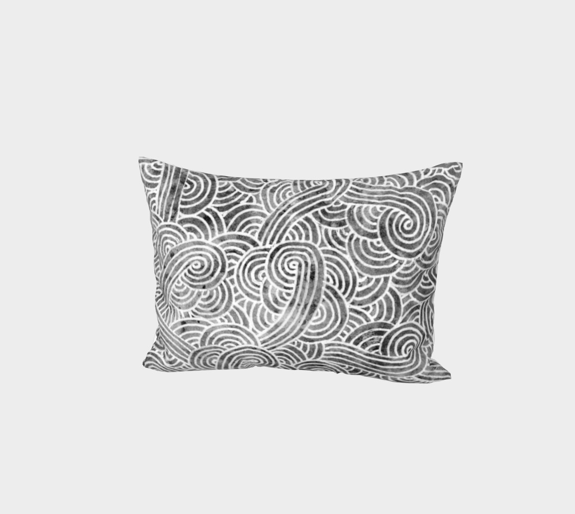 Grey and white swirls doodles Bed Pillow Sham preview