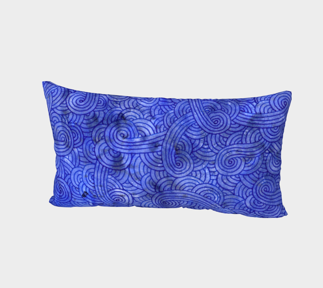 Royal blue swirls doodles Bed Pillow Sham preview #2
