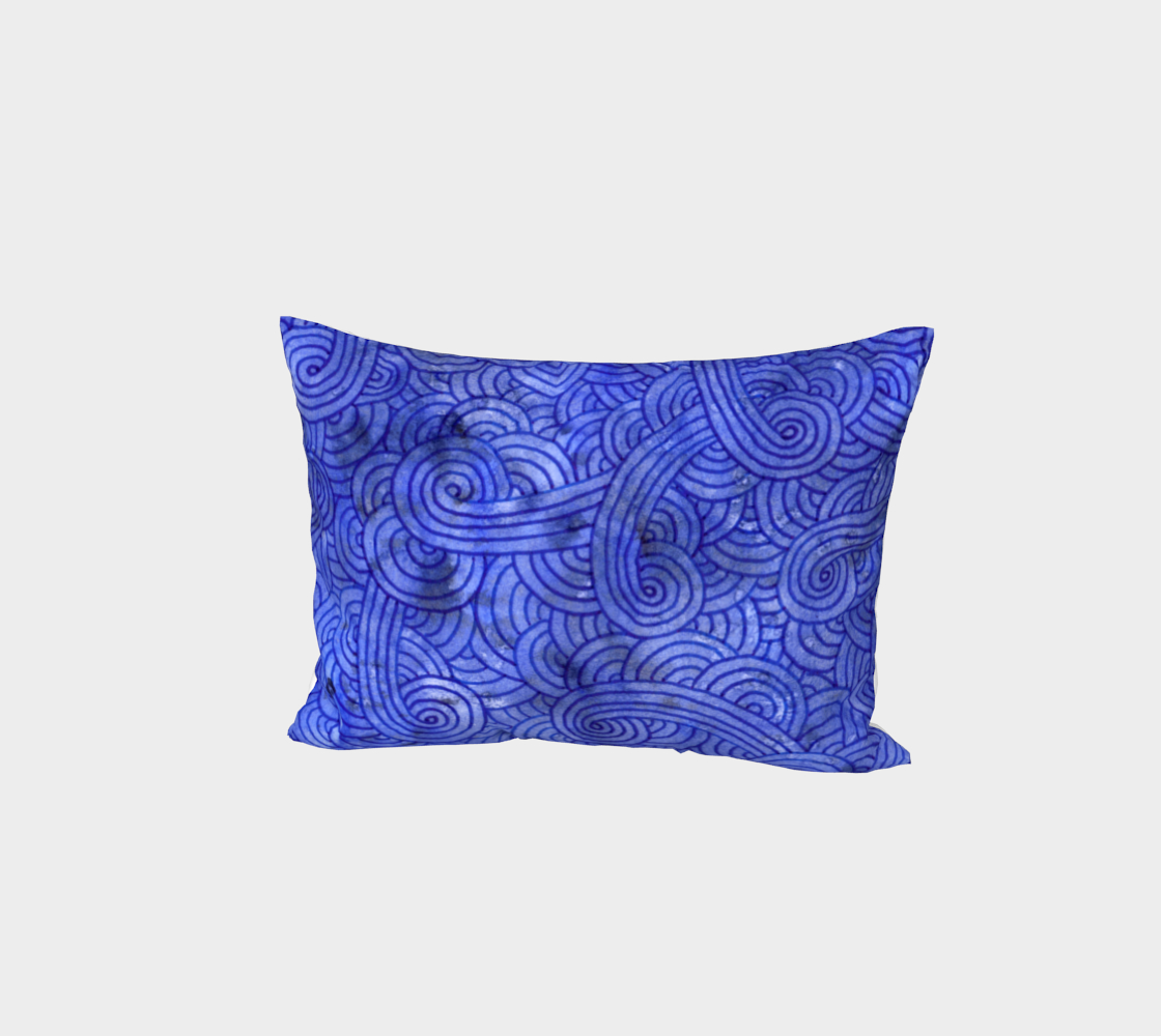 Royal blue swirls doodles Bed Pillow Sham 3D preview