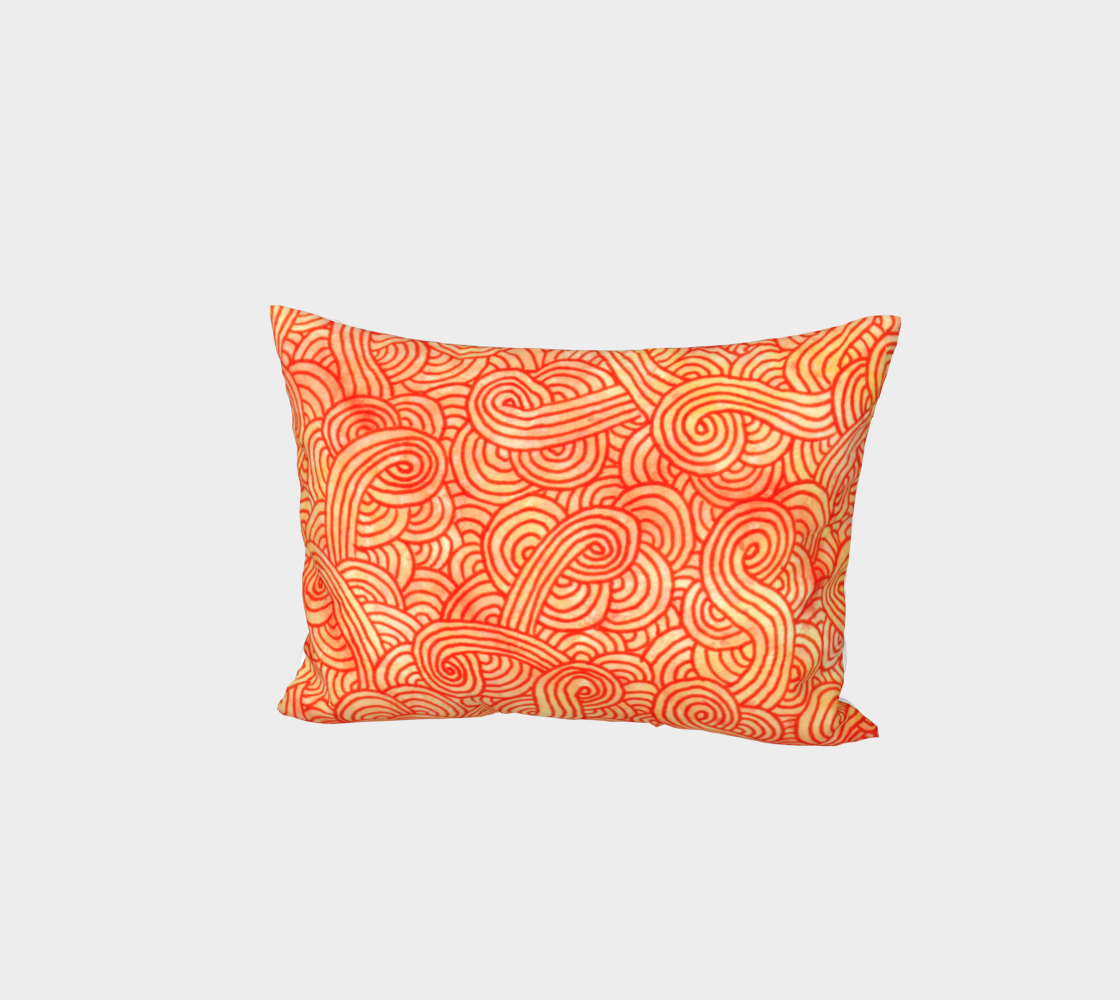 Orange and red swirls doodles Bed Pillow Sham preview