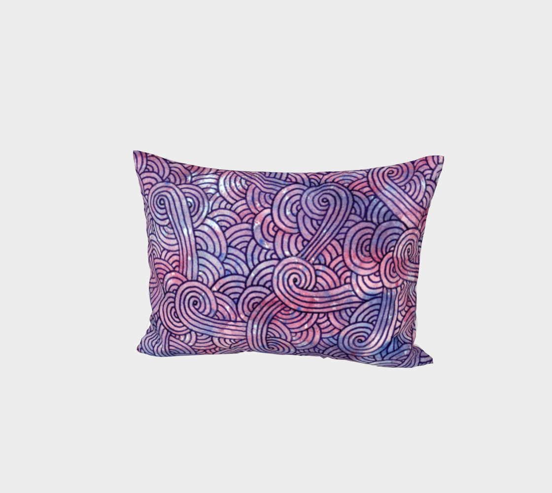 Purple swirls doodles Bed Pillow Sham preview