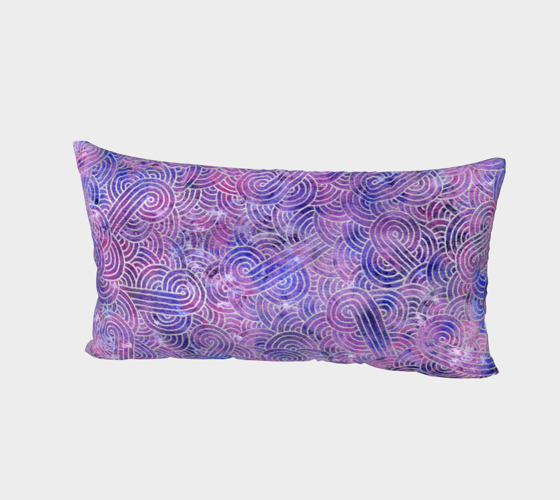 Purple and faux silver swirls doodles Bed Pillow Sham preview #2