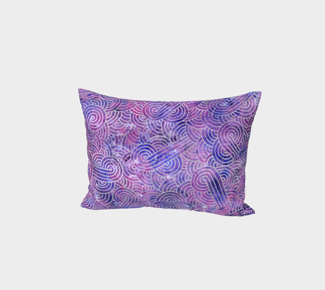 Purple and faux silver swirls doodles Bed Pillow Sham preview #1