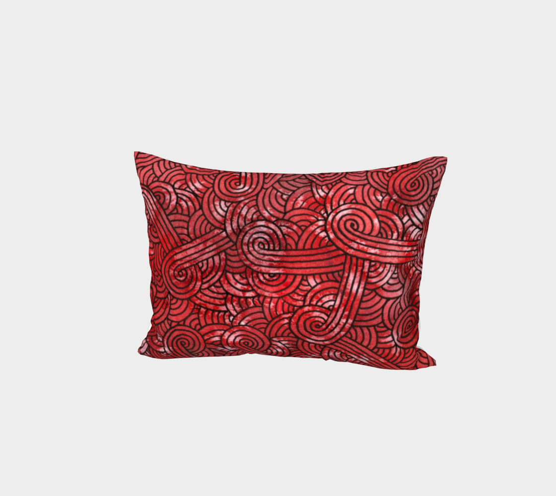 Red and black swirls doodles Bed Pillow Sham preview #1