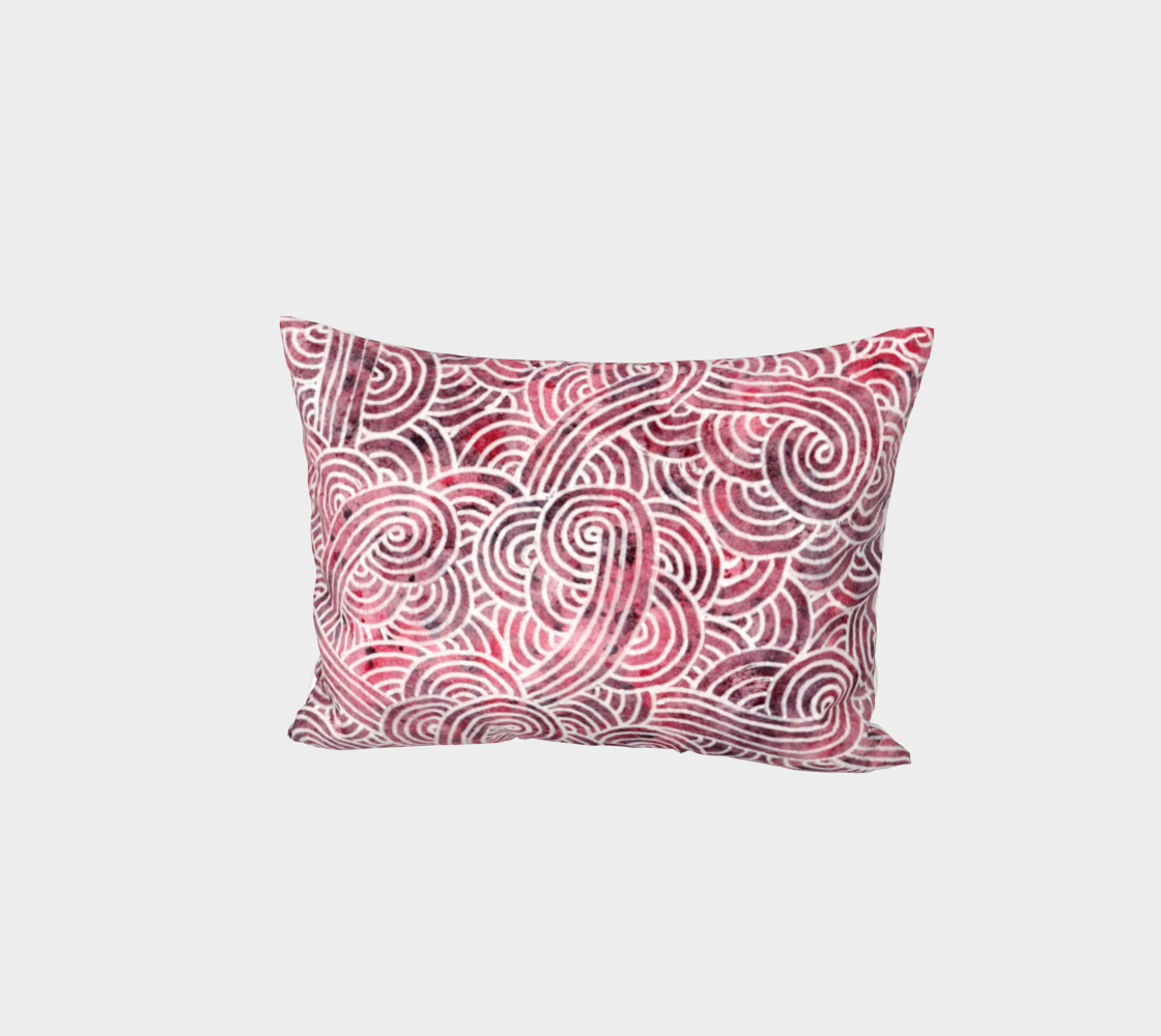 Red and white swirls doodles Bed Pillow Sham preview