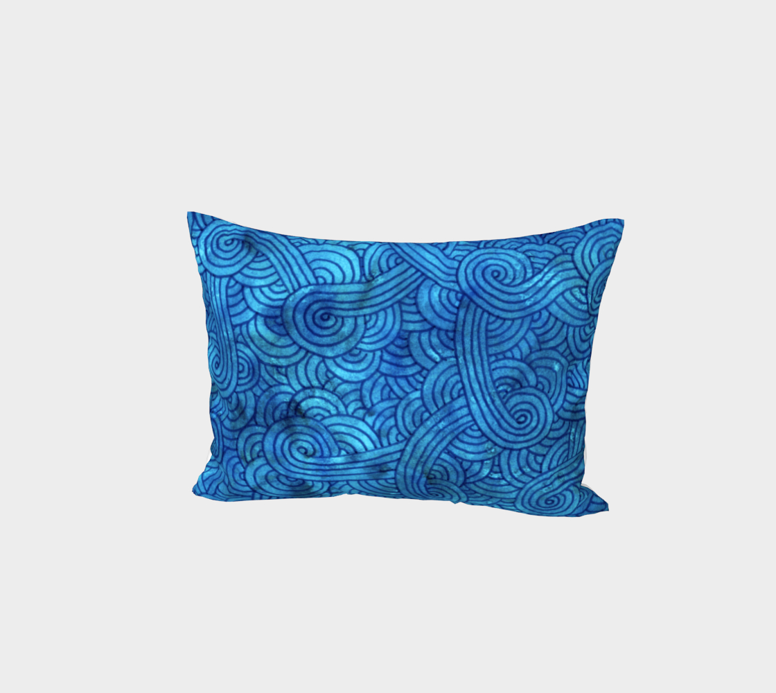 Turquoise blue swirls doodles Bed Pillow Sham preview