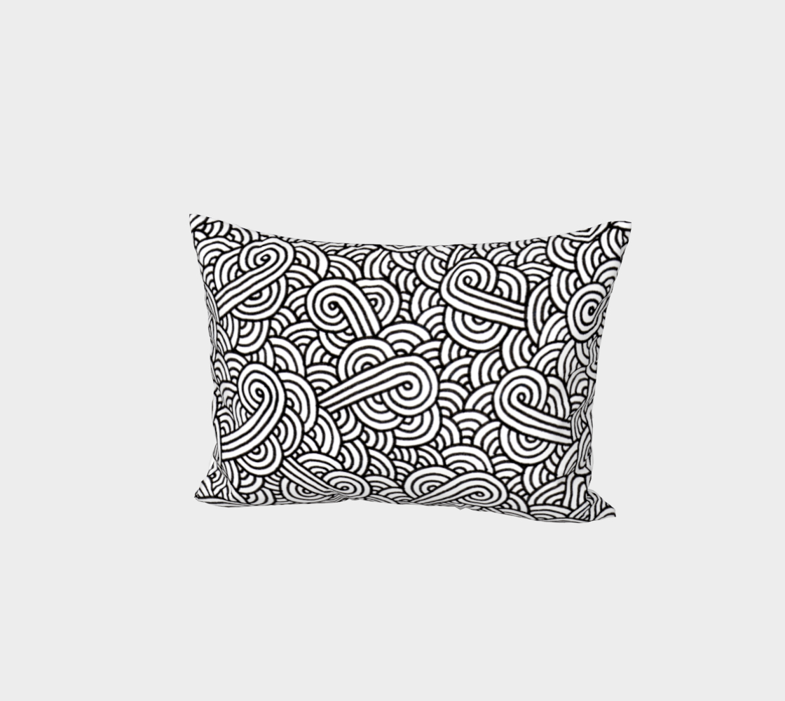 Black and white swirls doodles Bed Pillow Sham preview