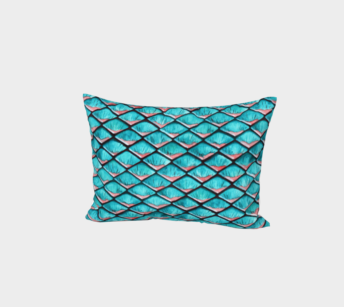 Teal blue and coral pink arapaima mermaid scales pattern Bed Pillow Sham preview