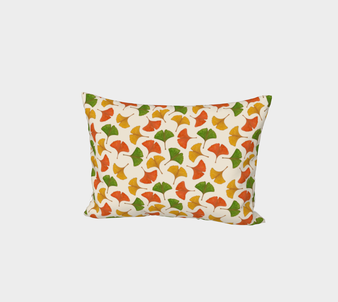 Fall ginkgo biloba leaves pattern Bed Pillow Sham preview